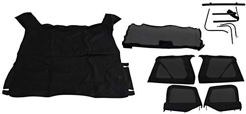 RAMPAGE PRODUCTS 68535 Complete Soft Top with Frame & Hardware for 1997-2006 Jeep Wrangler TJ, with Soft Upper Doors, Black Diamond w/Tinted Windows