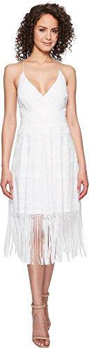 Nicole Miller Women's Elina Burnout Fringe Party Dress White 10