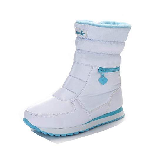 Ski fanessy Bootes Bootines Noir Chaude Doublure De Pluis Blanc Fourrée Femme Neige Mi Bottines Hiver mollet Homme Bottes ATXwx8Aq