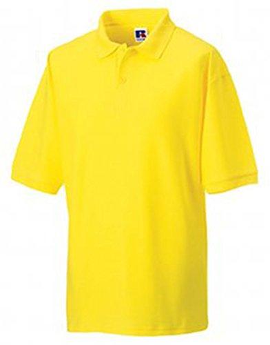 Russell Herren Polyester-/Baumwoll-Piqué Kurzärmliges Poloshirt Gelb XS