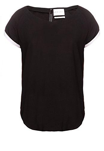 Khujo Schwarz Camicia Corte sol so1blk S Donna A Maniche Da WgcWFp