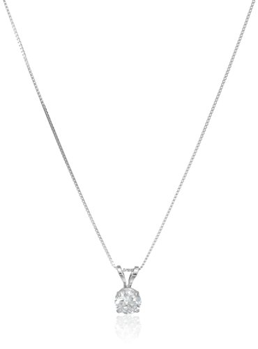 14k White Gold 5mm Round Cubic Zirconia Solitaire Pendant Necklace (0.50 carat, Diamond Equivalent), 18