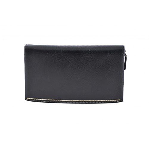 Dream Leather Bags Made in Italy Piel Verdadera Clutch Unisex En Piel Verdadera Color Negro - Peleteria Echa En Italia - Bolso Hombre