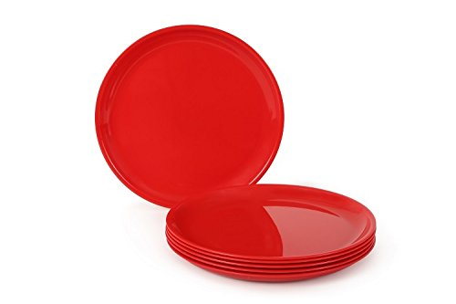 Joy Home Microwave Safe Full Plate 6 Pcs, Round, Cherry Red