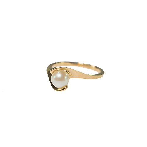 Providence Vintage Jewelry 1970's Pearl Bead Ring 18k Gold Electroplated 18k Gold Electroplated