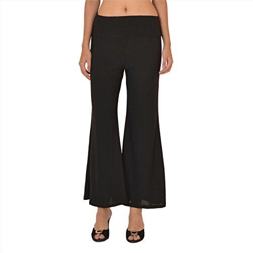 SNS 3x Plus tamaño plazzos pantalones para mujer Pure algodón negro