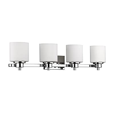 "Chloe Lighting CH821036CM33-BL4 Contemporary 4 Light Chrome Finish Bath Vanity Wall Fixture Alabaster Glass, 33"" Wide, White"