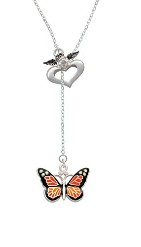 Silvertone Large Monarch Butterfly with 6 AB Crystals - Guardian Angel Lariat Necklace, 18