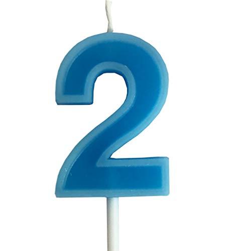 PartyMart Number 2 Candle, Blue Number 2 -