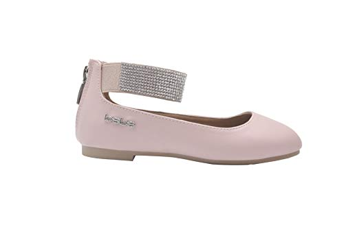 bebe Girls Ballet Flats 11 M US Little Kid Slip On Sandals with Rhienstone Ankle Strap Blush -