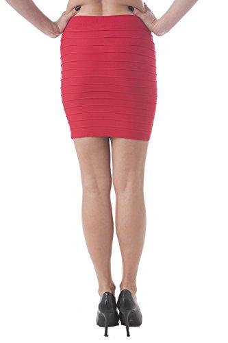 Vendaje Estilo Mini falda elástico Tela Talla única Rojo