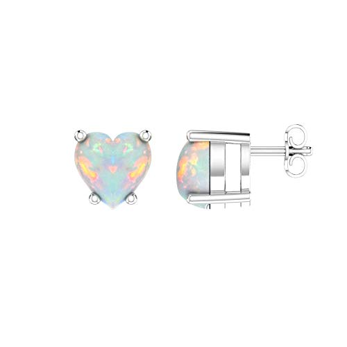 Solid Sterling Silver 5mm Heart Shaped Natural 0.9 CT Opal Stud Earrings, High Polished Opal Earrings with Push Backs