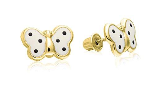Yellow Gold Enamel Butterfly Earrings - Baby Girls 14k Yellow Gold Tiny Butterfly Stud Earring with Enamel in Secure Safety Screw-backs (White)
