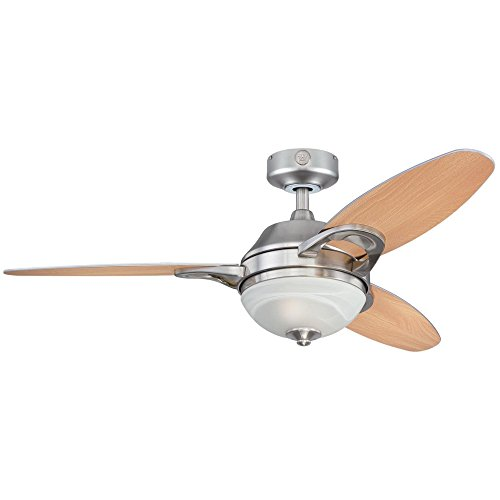 Westinghouse Lighting 7877500 Arcadia Two-Light 46-Inch Reversible Three-Blade Indoor Ceiling Fan, Brushed Nickel with Frosted White Alabaster Glass, Works with Alexa