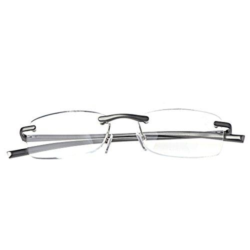 CHBC Aluminum Metal Rimless Reading Glasses Presbyopic Eyeglass Resin Lense +1.0~+3.5 (+2.0)