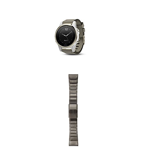 Garmin Fenix 5S Sapphire - Champagne with Gray Suede and Whi