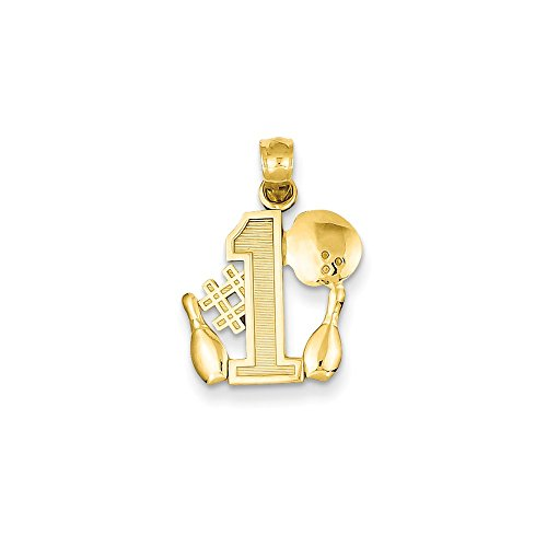 - 14k Gold #1 Bowling Story with Ball and 2 Pins Pendant (0.79 in x 0.55 in)