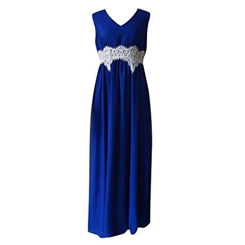 TIFENNY Fashion Dresses for Women Medieval Renaissance Gothic Lace Floor Length Cosplay Retro V Neck Long Dress Blue]()