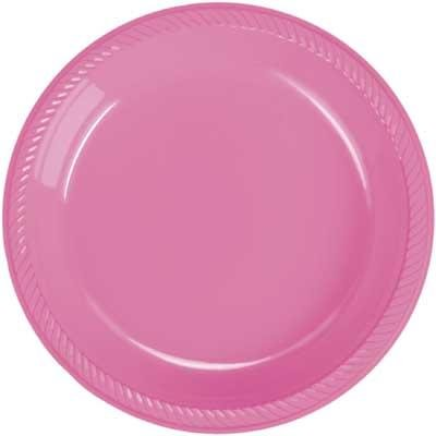 Hot Pink Plastic Dinner Plate 20 Count  sc 1 st  Amazon.com : fuschia paper plates - pezcame.com