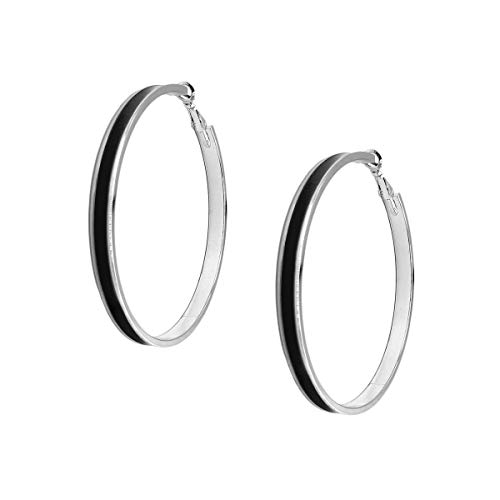 Women's Enamel Large Hoop Earrings Silver Black