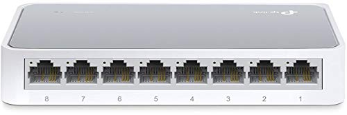 - TP-Link 8 Port Fast Ethernet Switch | Desktop Ethernet Splitter | Ethernet Hub | Plug and Play | Fanless Quite | Unmanaged (TL-SF1008D)