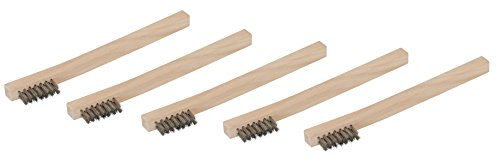 Steelman 99089 Stainless Steel 1200 Bristle Count Wire Brush Wood Handle, Pack of 5, 5 Pack