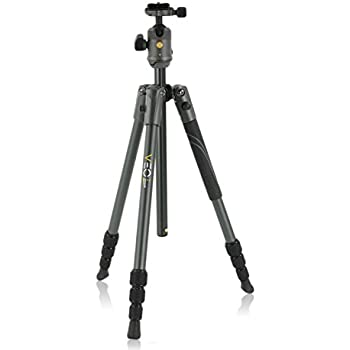 Vanguard VEO 2 204AB Black Aluminum Travel Tripod with VEO 2 BH-45 Ball Head for Sony, Nikon, Canon, Fujifilm Mirrorless, Compact System Camera (CSC), DSLR
