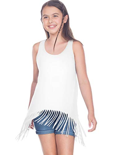 (Kavio! Girls 7-16 Sheer Jersey Raw Edge Fringe Asymmetrical Tunic Tank White XL)