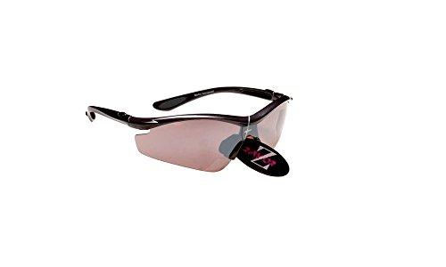 Rayzor professionnel léger UV400 Noir Sport Wrap cricket Lunettes de soleil, avec un miroir fumé antireflet des verres