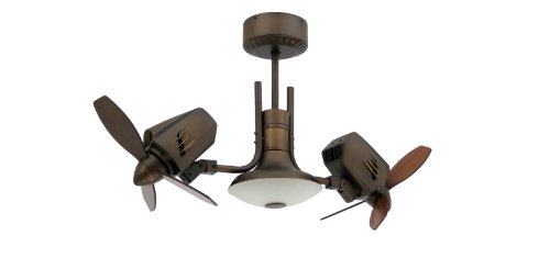 TroposAir Mustang II 18 in. Dual Motor Oscillating Indoor/Outdoor Rubbed Bronze Ceiling Fan