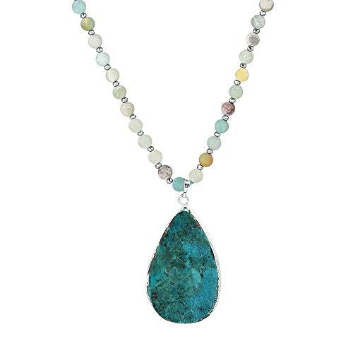 Boho Handmade Natural Stone Pendant Strand Bead Necklace for Women Girls (Heart Ocean Jasper& Amazonite Beads)