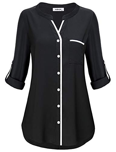- Henley Tunic Shirts for Women to Wear with Leggings,3/4 Sleeve Simple Style Casual V Neck Button Down Plain Tops Fitted Tshirt Knit Basic Jersey Lady Modern Peplum Blouse Prime Club Wear Black M