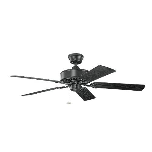 Kichler Lighting 339515SBK Renew Patio 52IN Wet Location Energy Star Ceiling Fan, Satin Natural Black Finish with Satin Natural Black ABS Blades (Star Small Energy Flush)