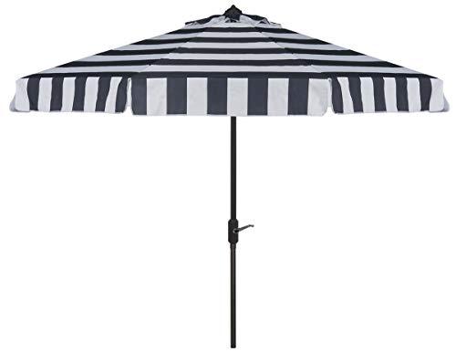Safavieh PAT8003B Outdoor Collection Elsa Fashion Line Auto Tilt Umbrella, 9 , Navy White