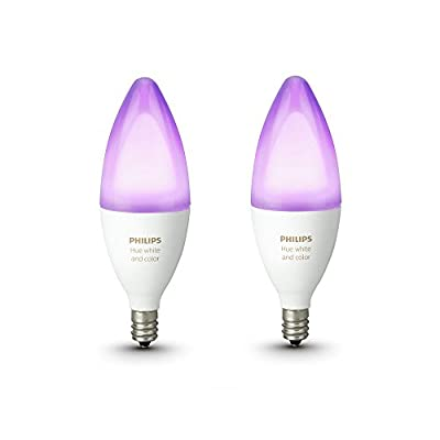 Philips Hue White and Color Ambiance E12 Decorative Candle 40-Watt Equivalent Dimmable LED Smart Bulb (2-Pack)