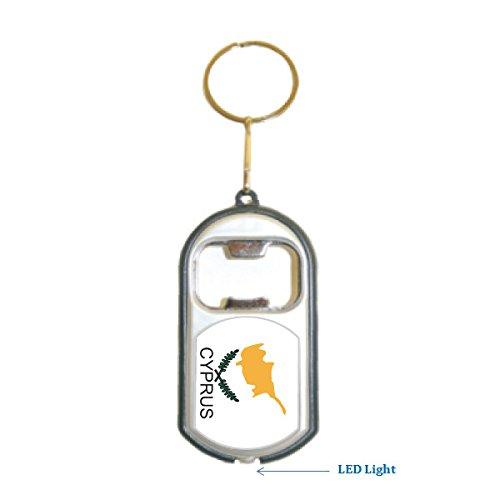 Cyprus Flag 3 in 1 Bottle Opener LED Light KeyChain KeyRing Holder Cyprus One Light