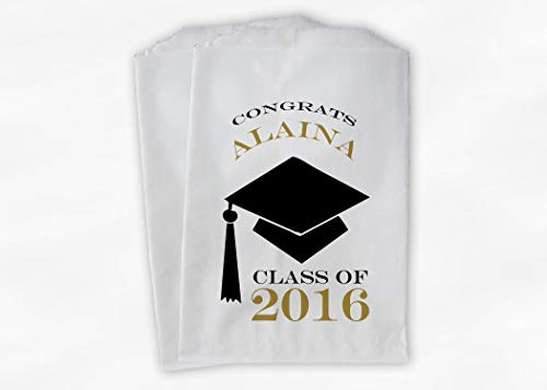 (Congrats Graduate Graduation Party Favor Bags for Candy Buffet with Cap in Black and Gold - Personalized Set of 25 Paper Bags (0060))