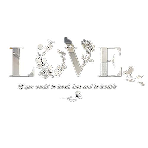 3D Leaf Love Wall Sticker, Ymibull Acrylic Wall Decals Living Room TV Background Wall Decoration (White)