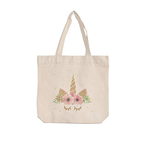 Unicorn Canvas Tote Bags 13x13 Inch With Interior Pocket Reusable Shopping Grocery Tote Bags Party Favor Bags Little Girl Tote Bags ()