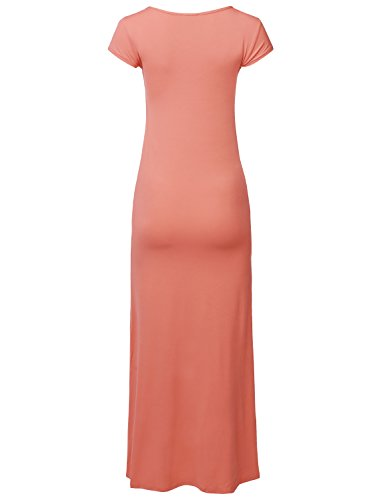 Neck Aawdrs0010 Peach Women's Length Sleeves Casual Cap Dress Awesome21 Long Maxi Round tHaxv