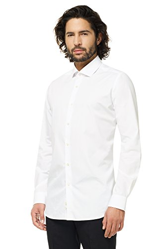 (OppoSuits White Knight Fitted Button-up Shirt with Long Sleeves for)