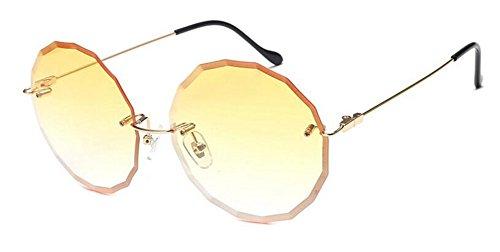 en style soleil inspirées retro Gradient métallique Lennon vintage cercle Jaune de lunettes rond polarisées du FqRFZg