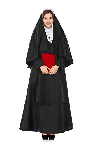 CMBro Women's Plus-Size Nun Cosplay Costume Masquerade Halloween Party Outfit Dress (XX-Large) ()