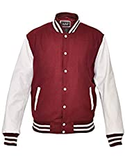 TRèS CHiC Mens Baseball Varsity College Letterman Jacket/Coat, White Genuine Leather Sleeves with Wool Body