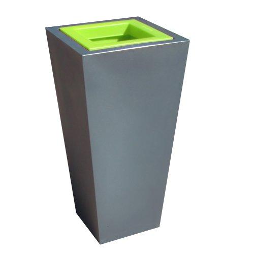 Green City Stark S Blumentopf, Kunststoff, quadratisch, mit Wasserreservoir, Anthrazit / Anisgrün