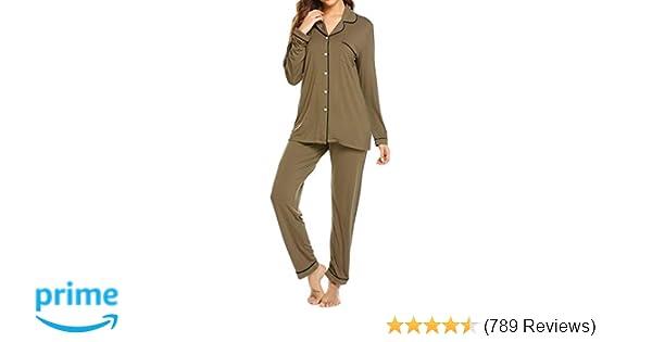1c9268cb2c Ekouaer Pajamas Women s Long Sleeve Sleepwear Soft Pj Set XS-XXL at Amazon  Women s Clothing store