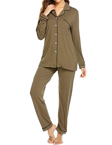 (Ekouaer Pajama Set Women's Long Sleeve Sleep Tee and Long Pants (Army Green,XXL))