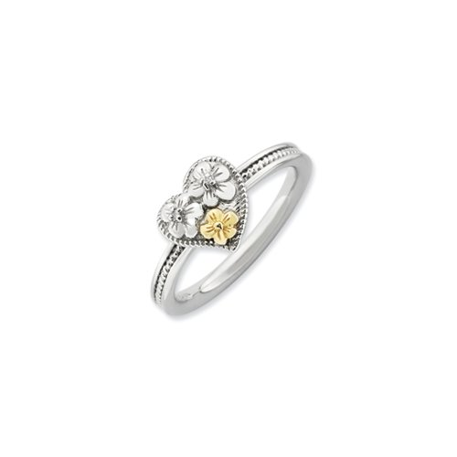 Floral Diamond Heart (Sterling Silver, 14k Gold Plated & Diamond 9mm Floral Heart Ring (.01 Ctw, H-I Color, I3 Clarity))