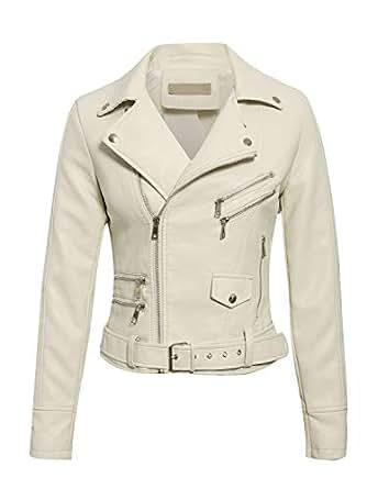 BerryGo Women's Faux Leather Moto Biker Jacket Outwear Coat White-S