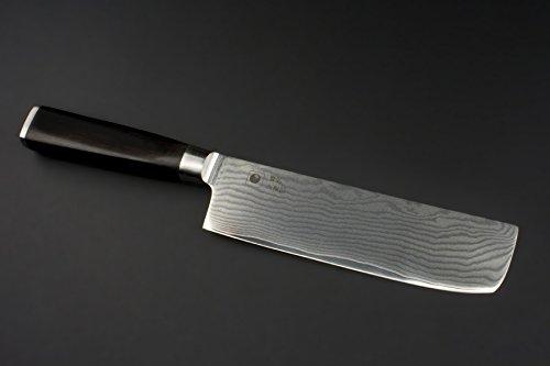 NAKIRI DAMAST Kochmesser der Superlative aus japanischem VG-10 High-Carbon Stahl Set mit 3 Kochmessern KATAHIRO KUBOTA